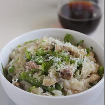 bowl of Brown Ale Veggie Risotto on a table