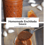 Enchilada Sauce in a jar with spoon on table
