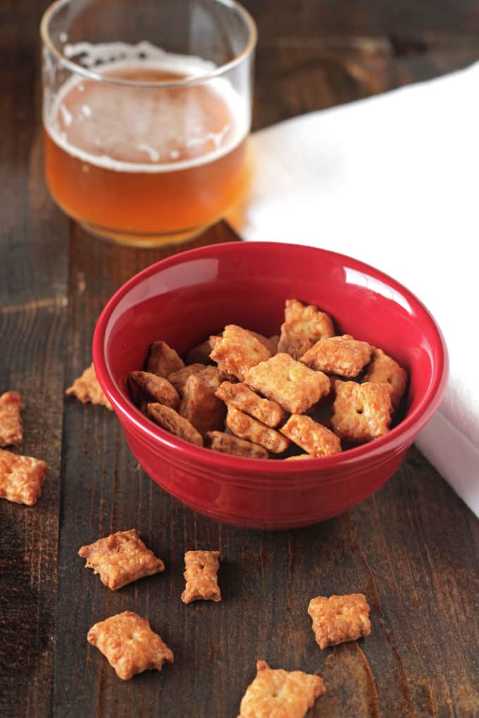 baked homemade cheez-its in a bowl