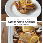 baking dish with cooked chicken, mushrooms and lemon