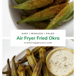 whole air fried fried okra on a white plate