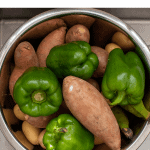 bowl full of peppers and sweet potatoes