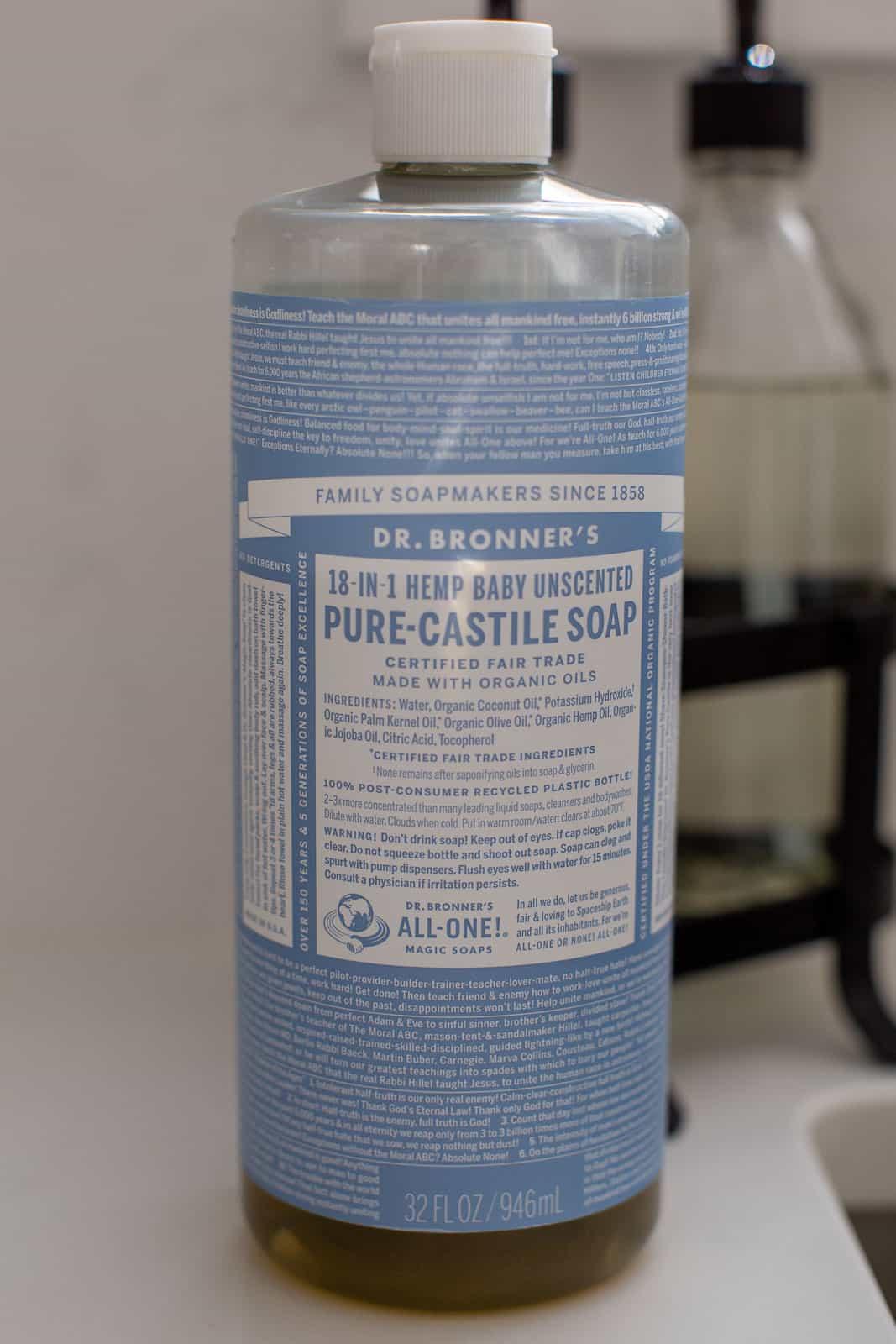 bottle of castile soap