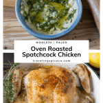 Whole roasted chicken in a pan with sprigs of rosemary
