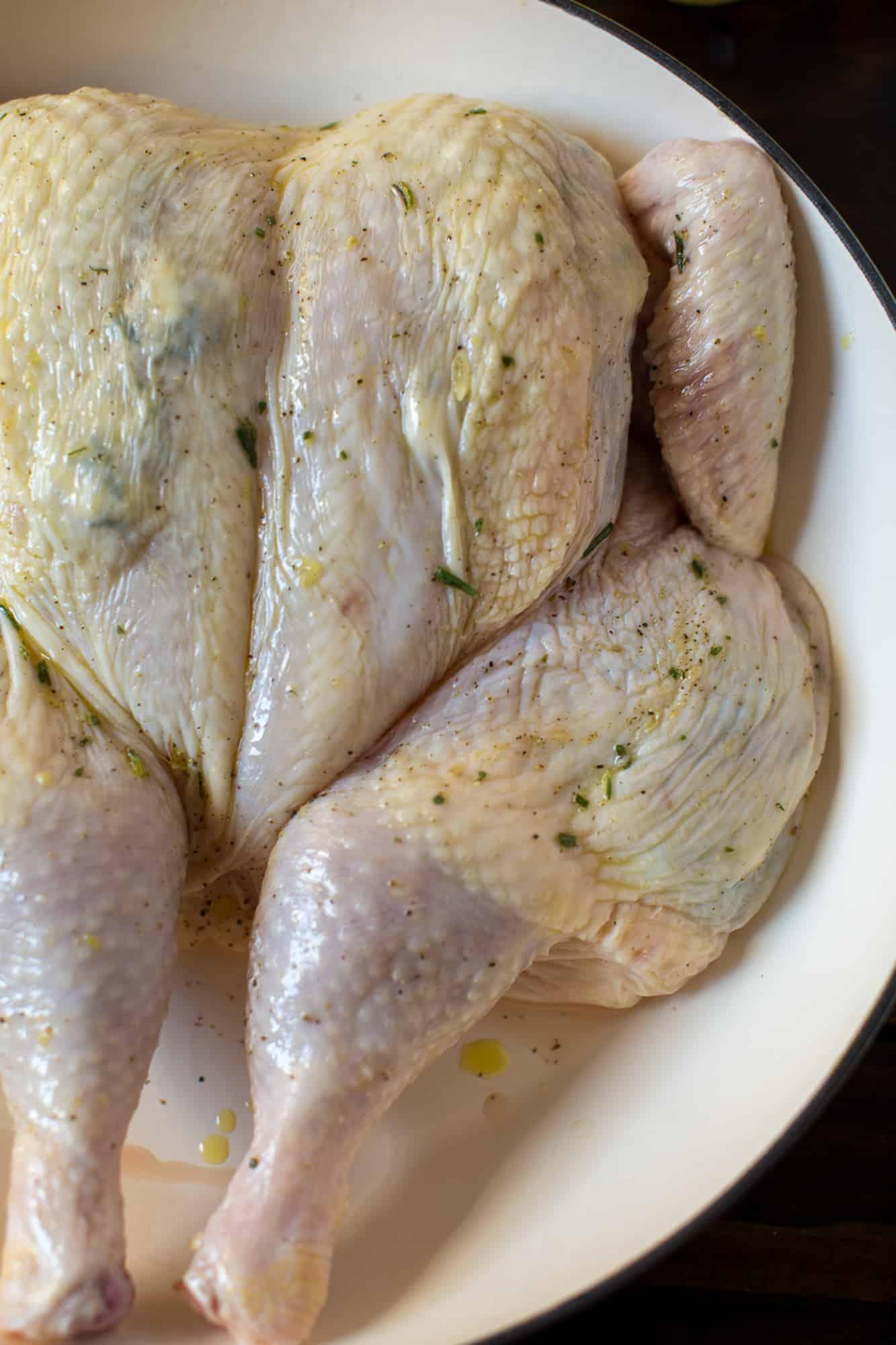 Whole raw chicken seasoned in a pan