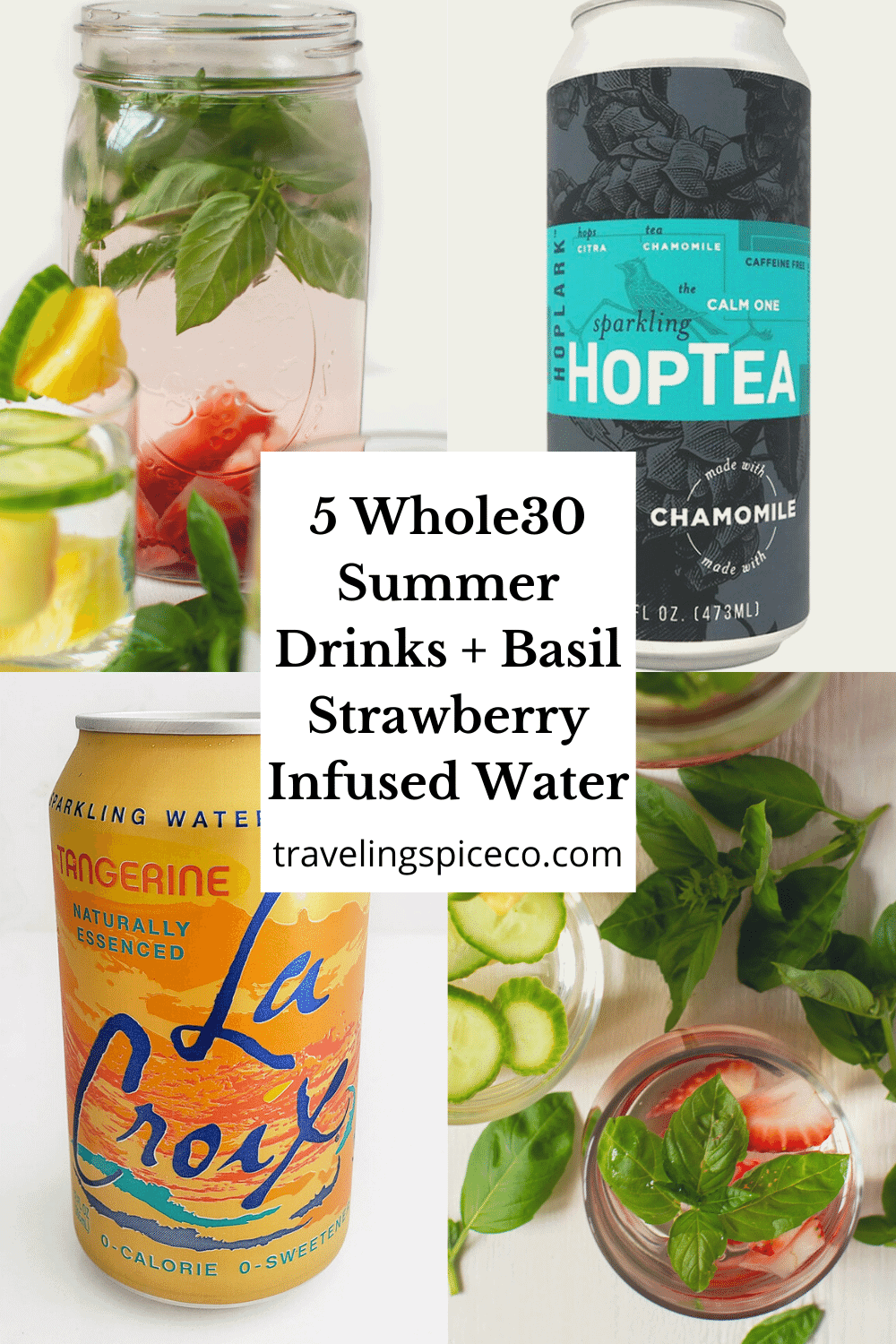 can of hop tea, la croix and basil strawberry water