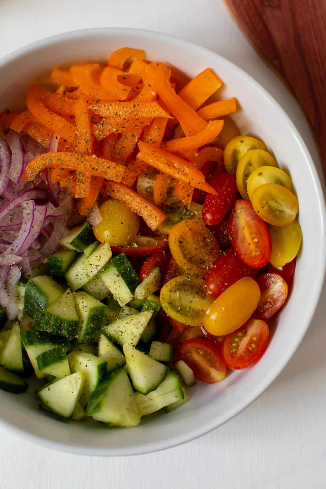 bowl of chopped veggies for Greek salad