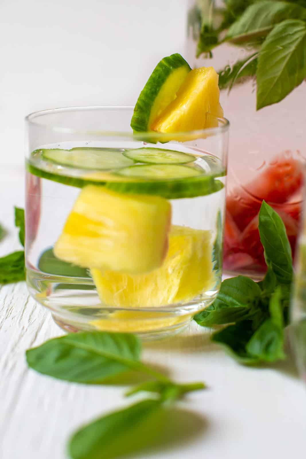 photo of glasses of pineapple cucumber infused water