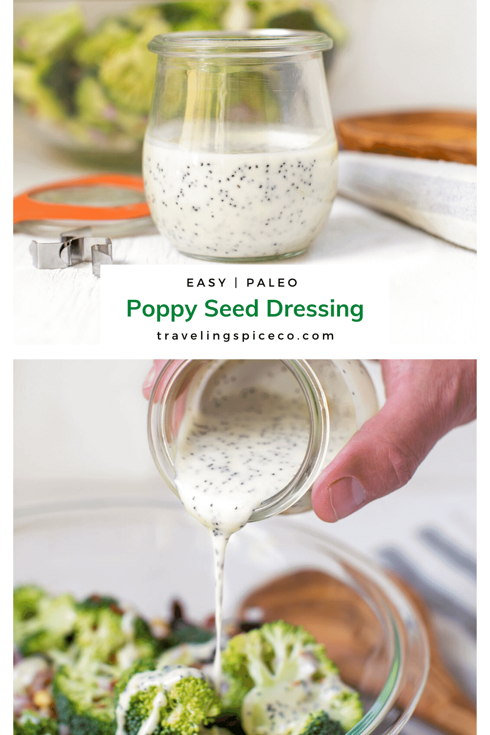 jar of poppy seed dressing with salad