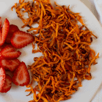 pinterest image with plate of sweet potatoes