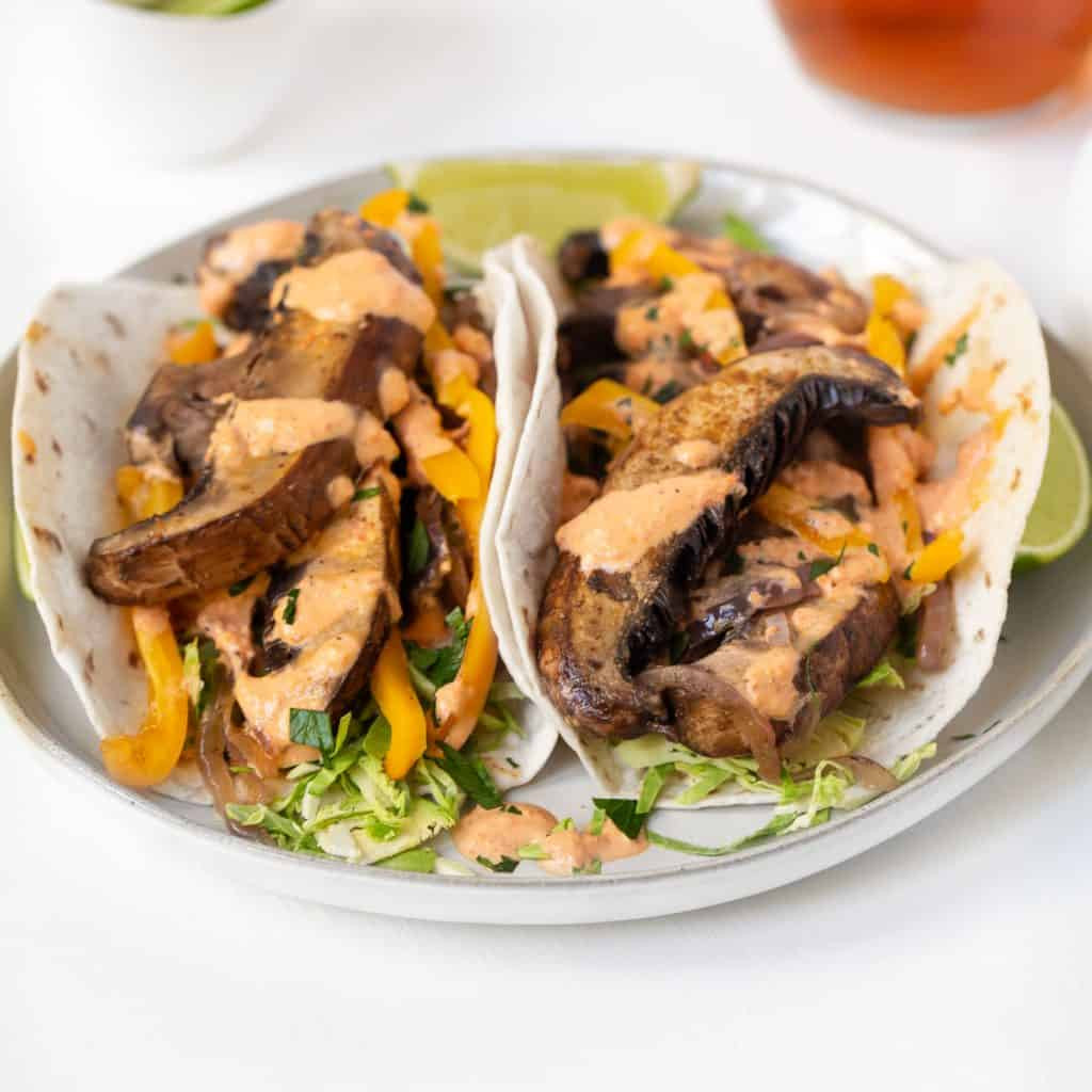 sauteed mushrooms with brussels sprouts  on a taco