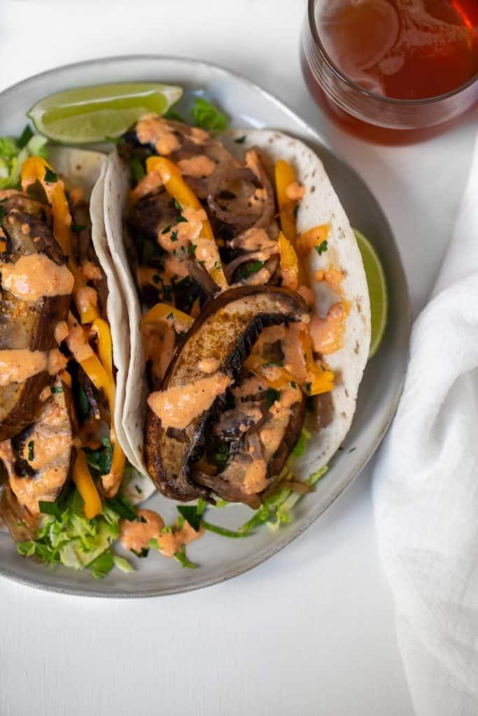 sauteed mushrooms on a taco