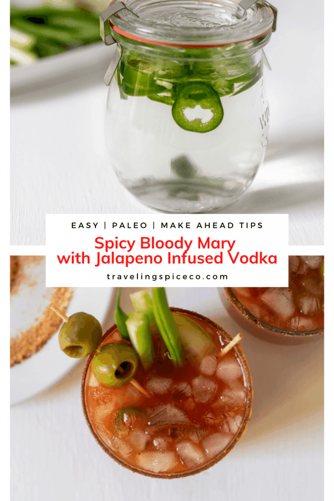 glass of jalapeno vodka and bloody mary mix