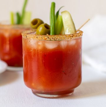 close up of glass of bloody mary mix