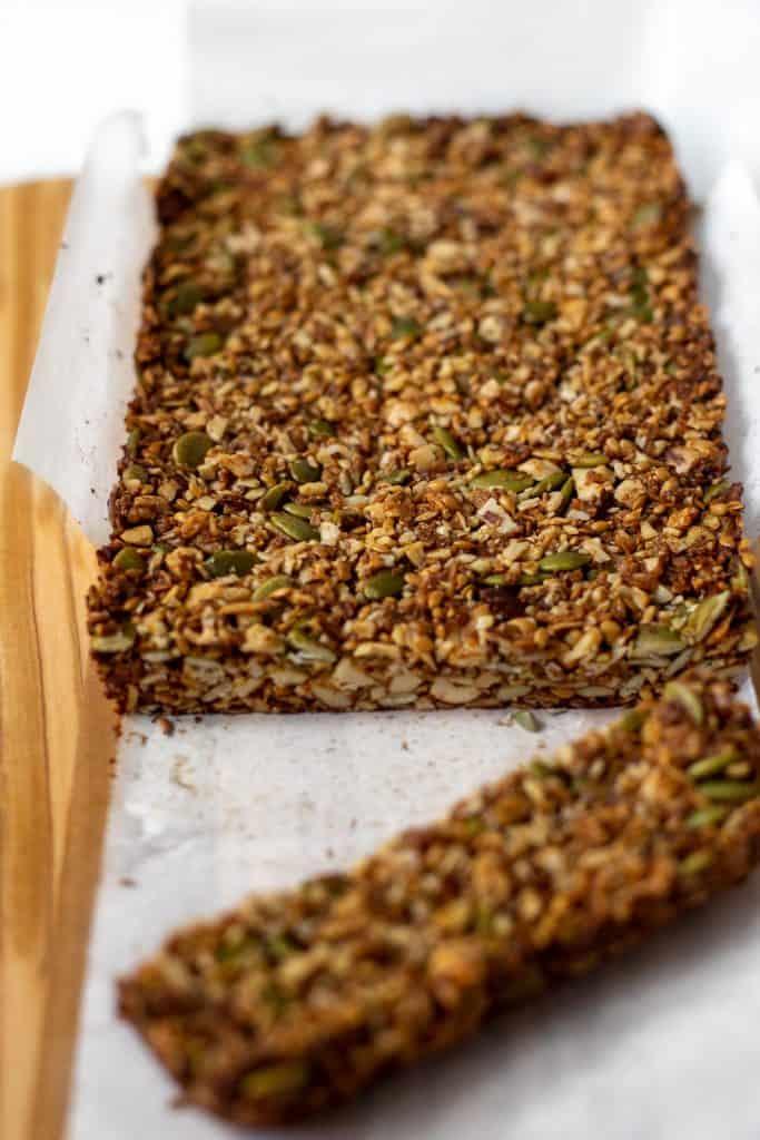 baking pan of cooked granola