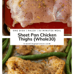 raw chicken thigh on sheet pan