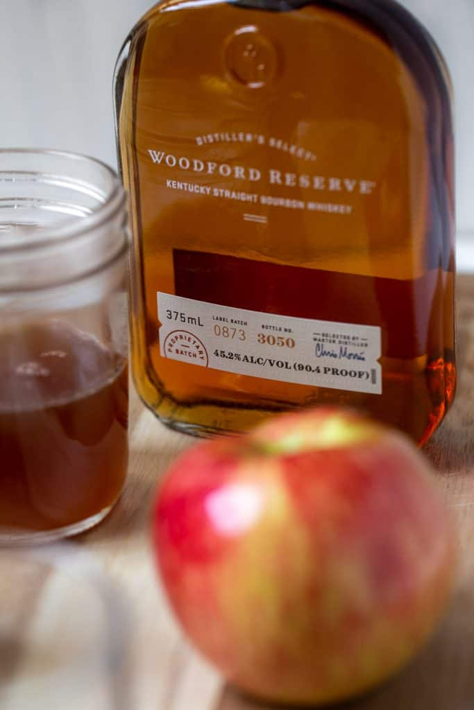 close up of bottle of Woodford Reserve bourbon