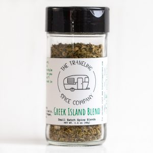A jar of The Traveling Spice Co The Greek Island Blend