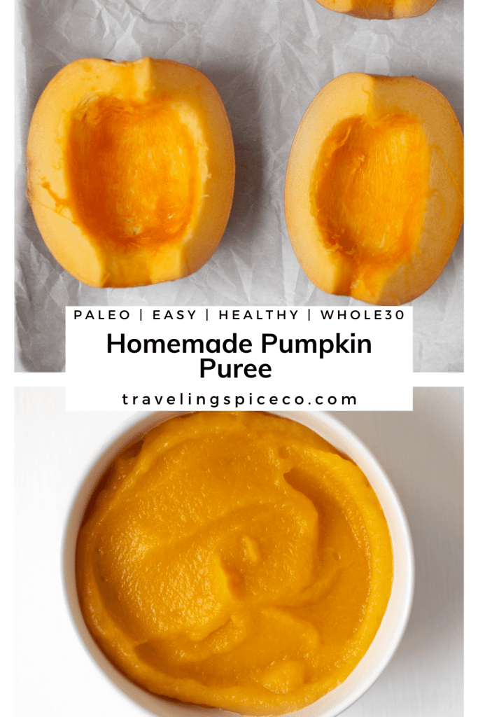 Pinterest Image for homemade pumpkin puree made in the oven