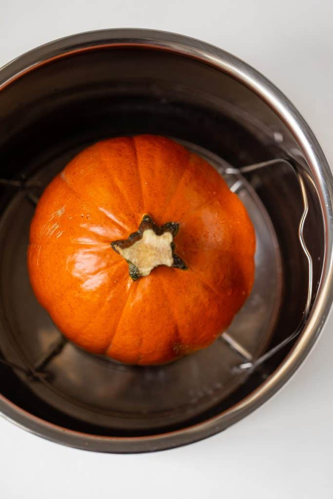 A whole pumpkin in an Instant Pot.