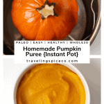 Pinterest Image for homemade pumpkin puree made in the instant pot