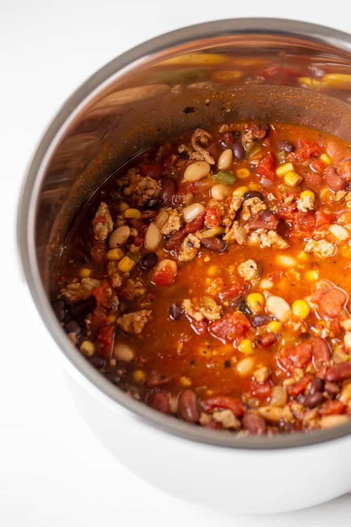 close up of an instant pot full of turkey chili