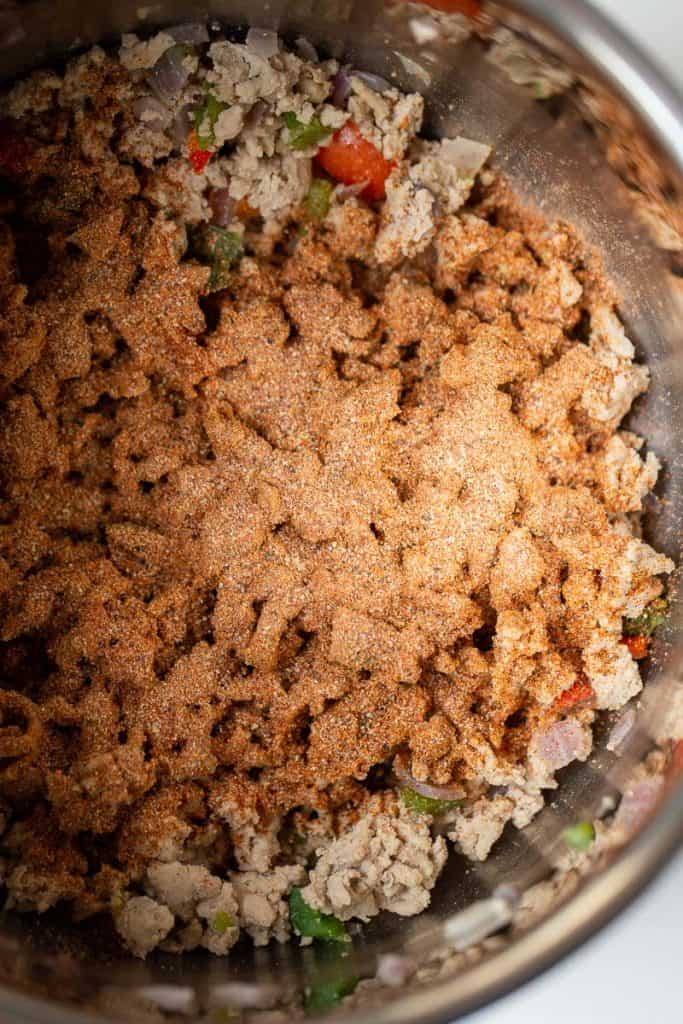 cooked ground turkey covered in chili seasoning