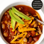 Pinterest graphic for Instant Pot Turkey Chili