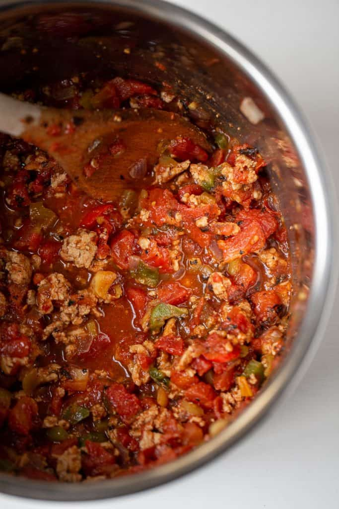 close up of an instant pot full of paleo chili