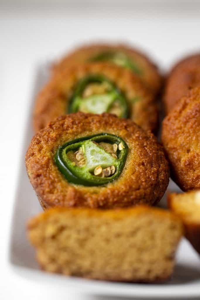 close up of grain-free cornbread muffin