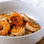 Pinterest graphic cajun shrimp and cauliflower grits