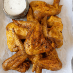 Pinterest graphic air fryer curry chicken wings