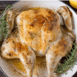 Pinterest graphic oven roasted spatchcock chicken