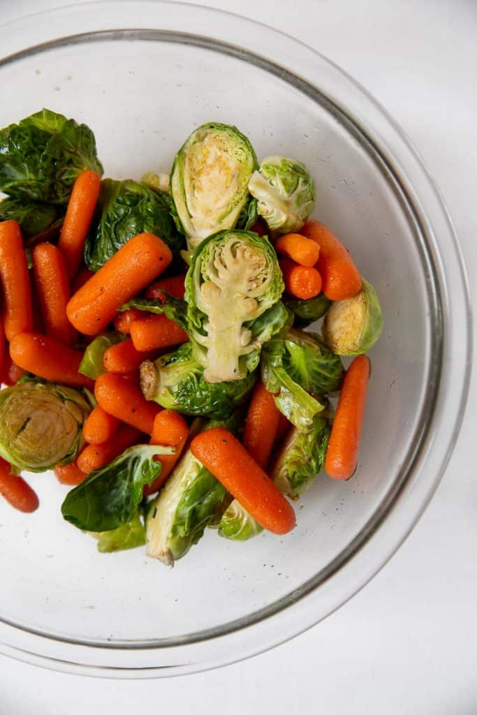 Mixing bowl full of vegetables for roasting