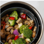 Pinterest Graphic of Air fryer sausage and veggies
