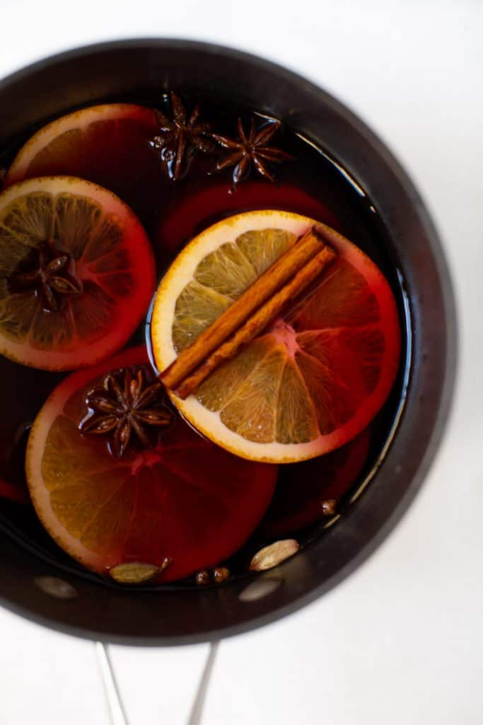 Crockpot full of mulled wine on a table