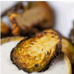 Pinterest Graphic of air fryer brussels sprouts