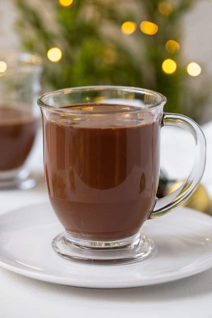 glass mug of paleo hot chocolate.