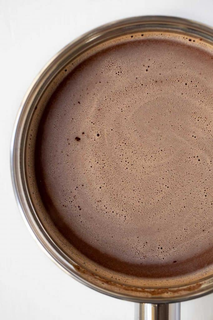 melted chocolate and almond milk in a saucepan.