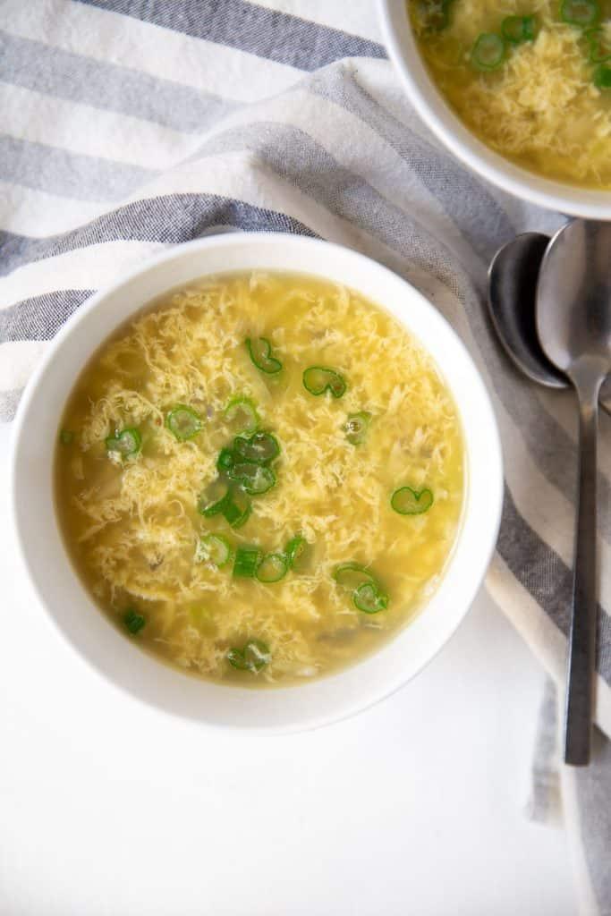 close up of whole30 egg drop soup