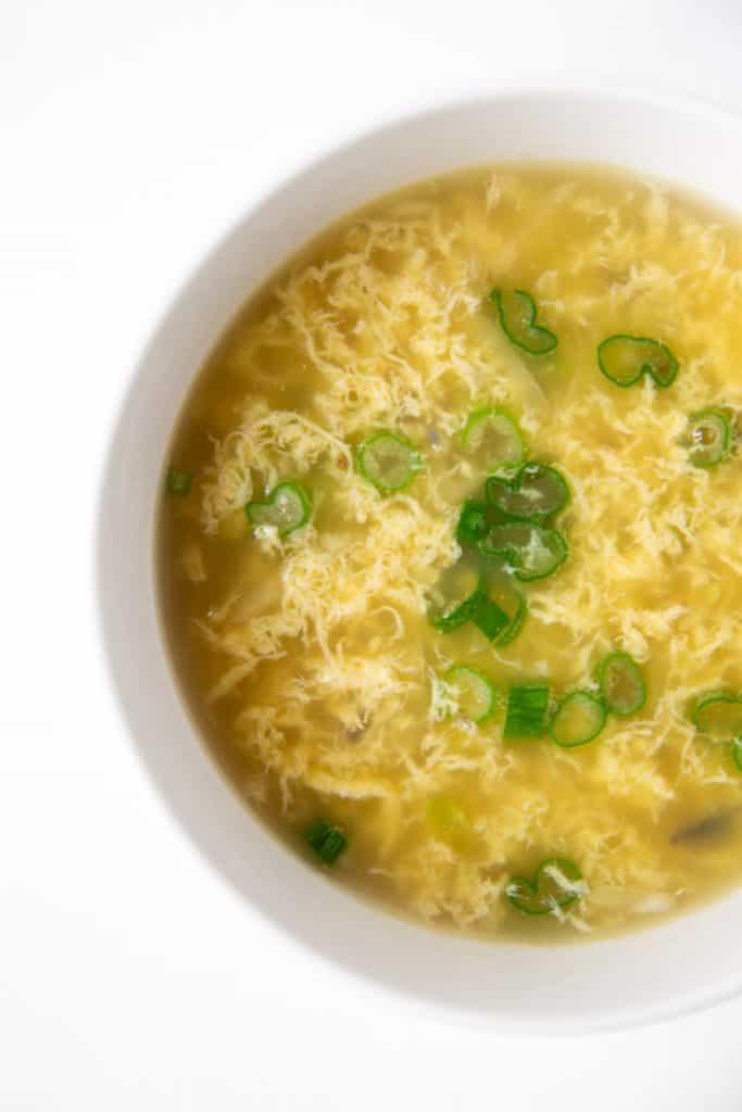 Close up of bowl of egg drop soup