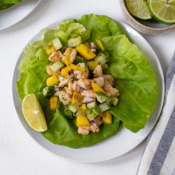 mango shrimp salsa on a lettuce wrap