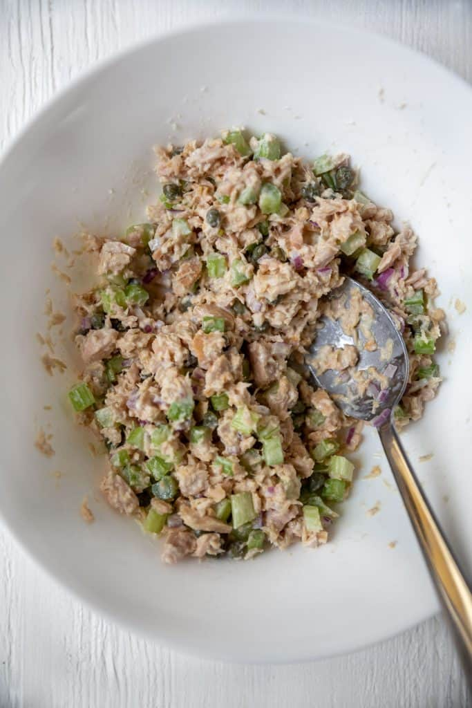 large bowl of whole30 tuna salad