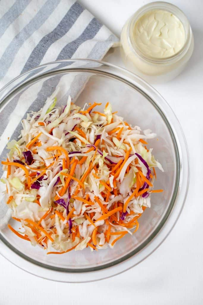 large bowl of shredded cabbage and carrots